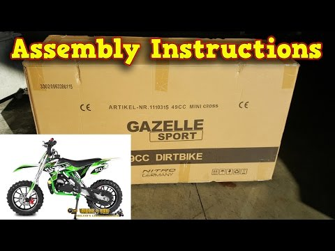 Mini Dirt Bike 50cc - Pocket Bike Gazelle - Unboxing - Full Assembly Instructions