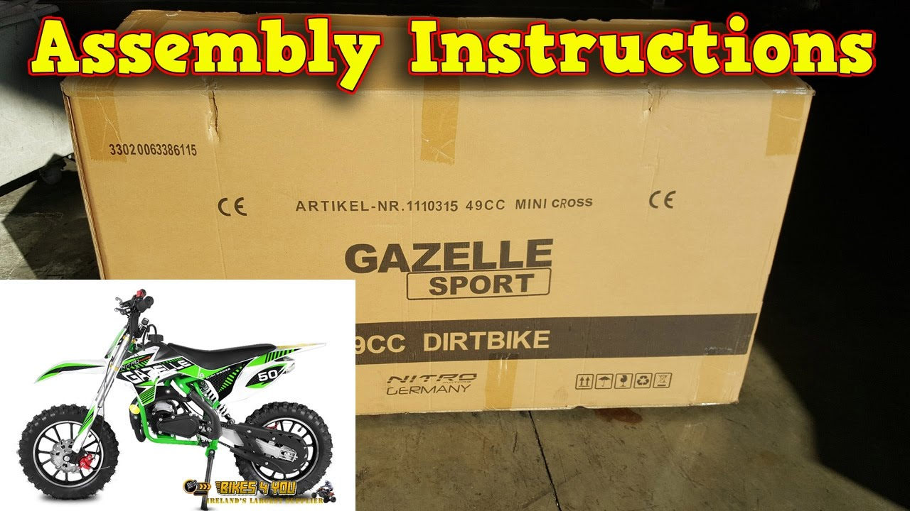 Mini Dirt Bike 50cc - Pocket Bike Gazelle - Unboxing - Full Assembly Instructions - YouTube