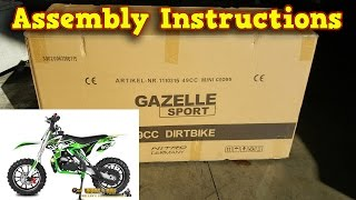 Mini Dirt Bike 50cc - Pocket Bike Gazelle - Unboxing - Full Assembly Instructions