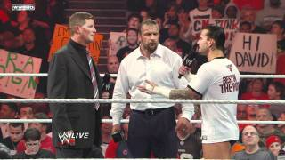 Raw - CM Punk describes his conspiracy theory to WWE COO Triple H thumbnail