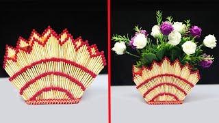 How to make flower vase with matchsticks | Matchstick art and craft ideas