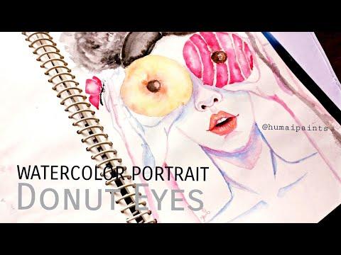 Watercolor portrait: Donut  Girl