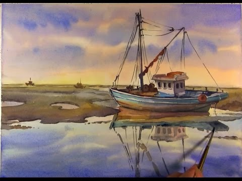 Watercolor Painting : Fishing Boats on Sea #02