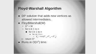 Floyd-Warshall and Johnson