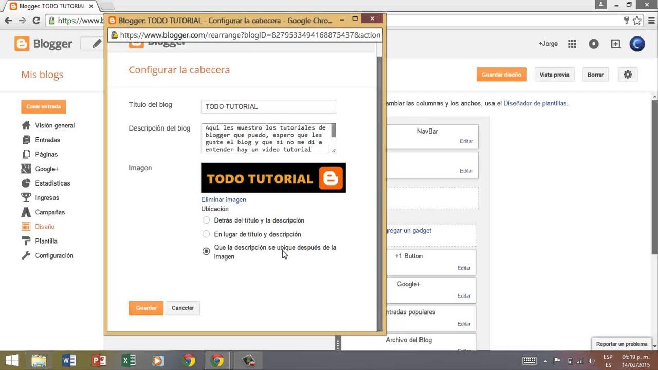 Como cambiar/poner el logotipo en un blog en Blogger - TUTORIAL ...