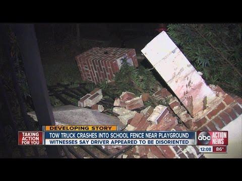 Tow truck crashes at Villa Madonna school