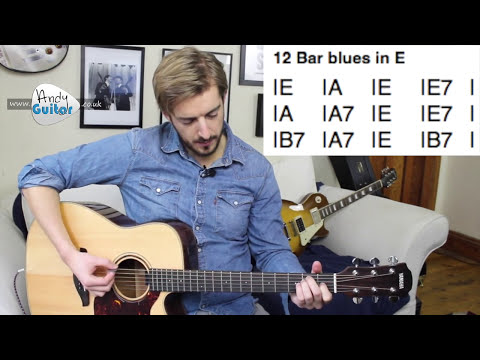 Blues Guitar Tutorial for Beginners  - 12 Bar blues in E (Level 7 #6)