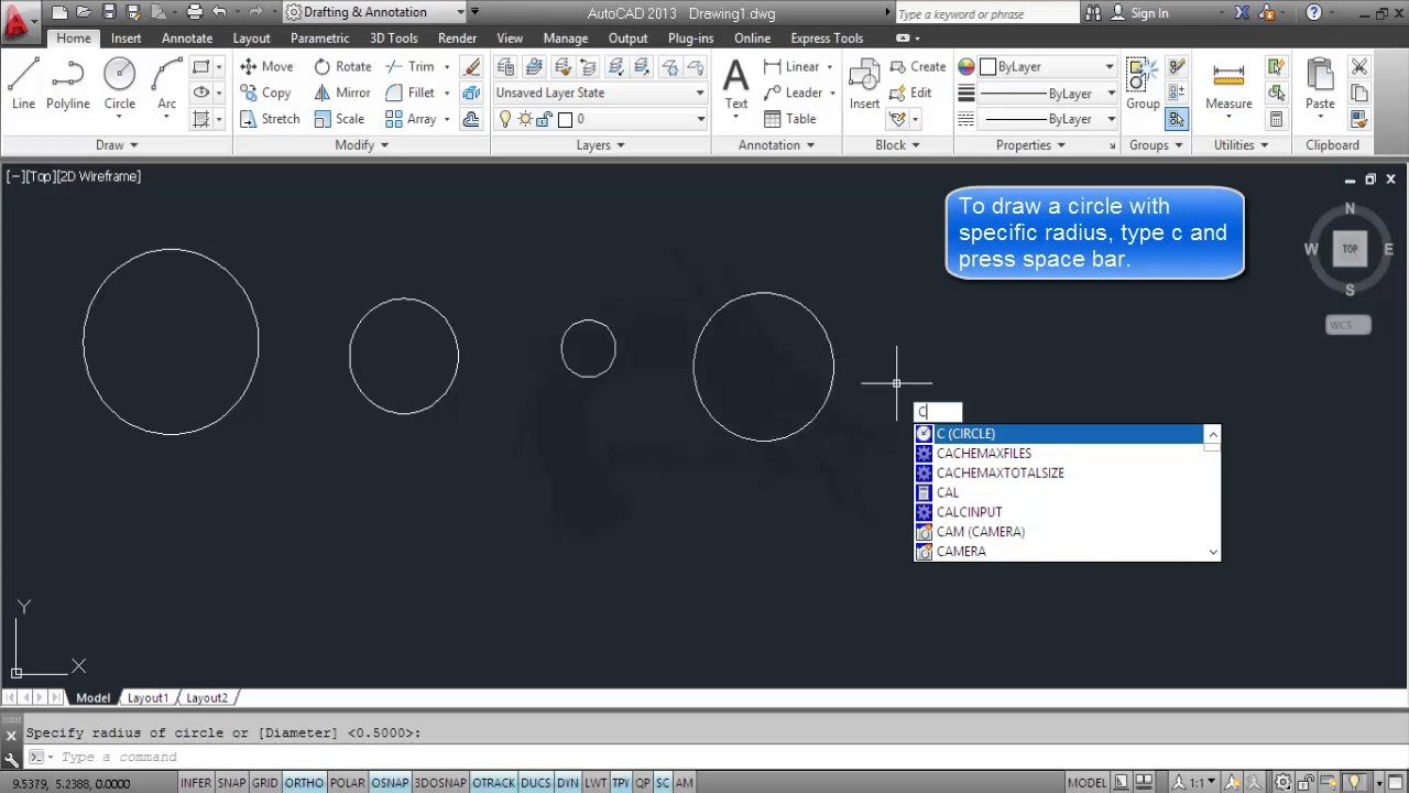 how to draw circle in autocad