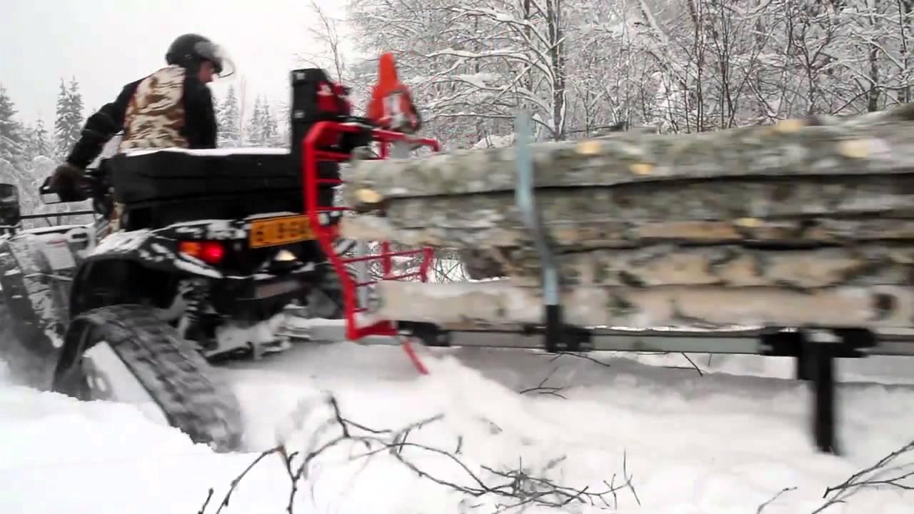faire du bois avec son quad polaris 550 prospector tracks atv expert timber pro 600 sk youtube. Black Bedroom Furniture Sets. Home Design Ideas