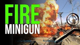 Fallout 4 Unique Fire Minigun! (Ash Maker)