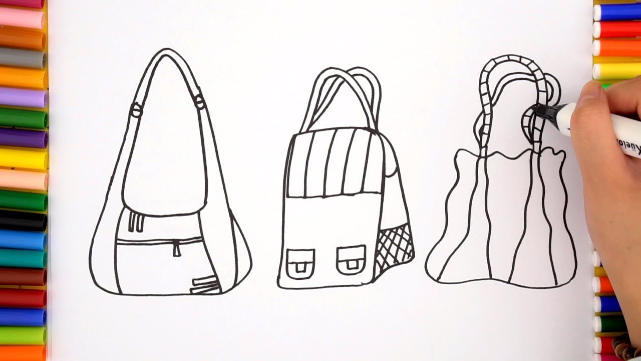 How To Draw Handbag For Girls Learning Coloring Pages For Kids