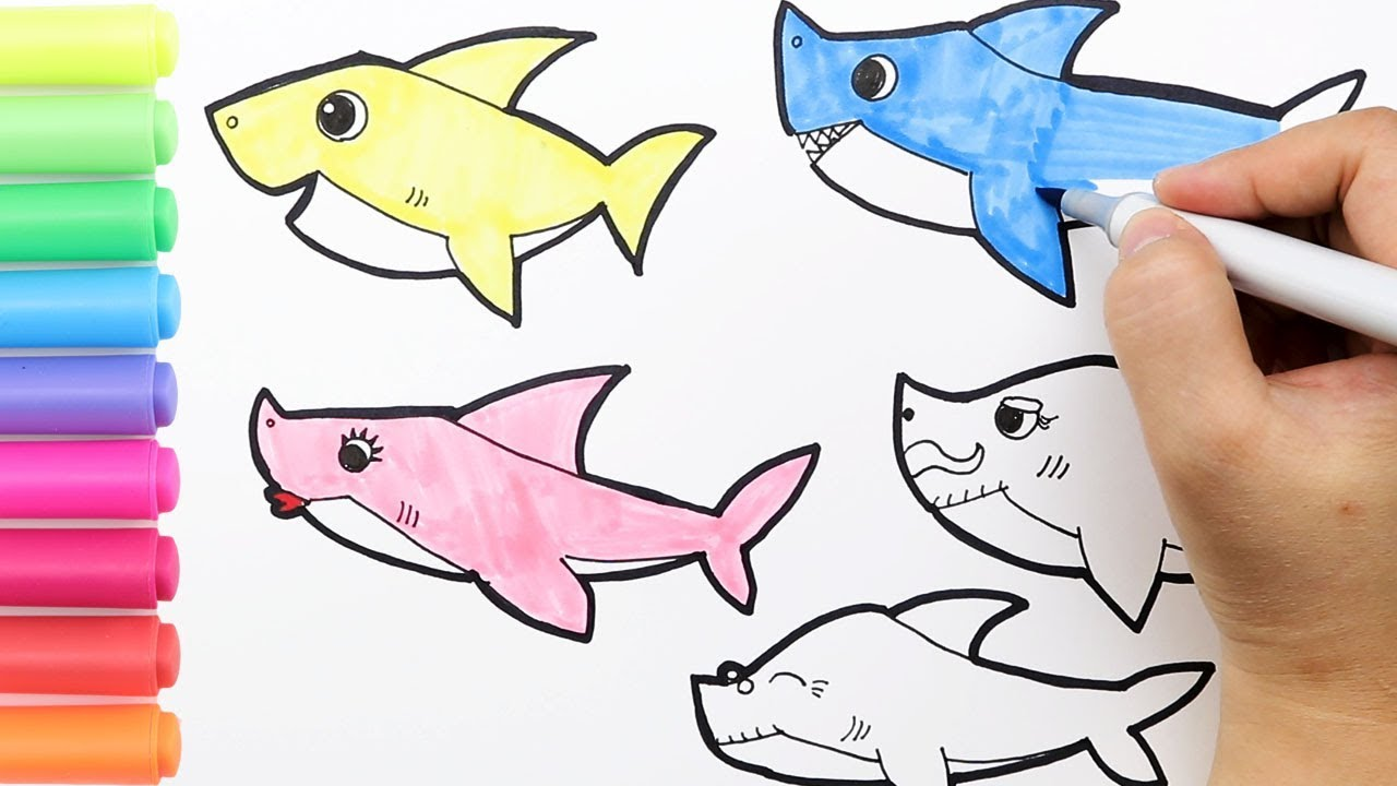 Coloring Baby Shark Family Coloring Page How to draw