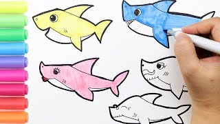 Download Coloring Baby Shark Family Coloring Page How to draw Pinkfong Baby Shark Family Paper Dolls Kids Art Mp3 and Videos