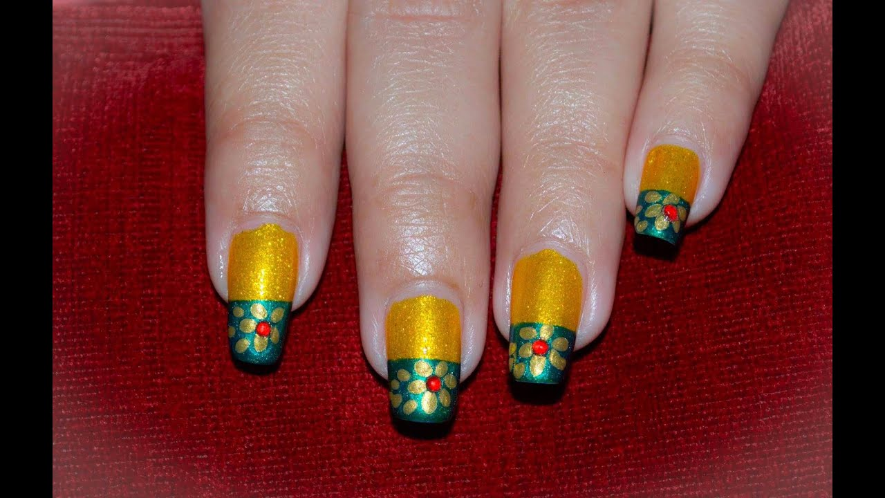Green and gold nail art golden flower nail on yellow green green and gold nail art golden flower nail on yellow green background youtube prinsesfo Choice Image
