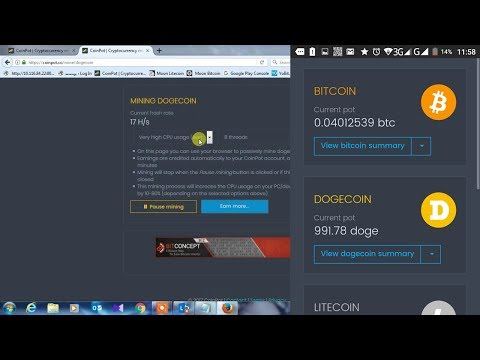 Best Browser Mining Cpu Mining Power Use  Btc/ltc/doge/bcc Coinpot