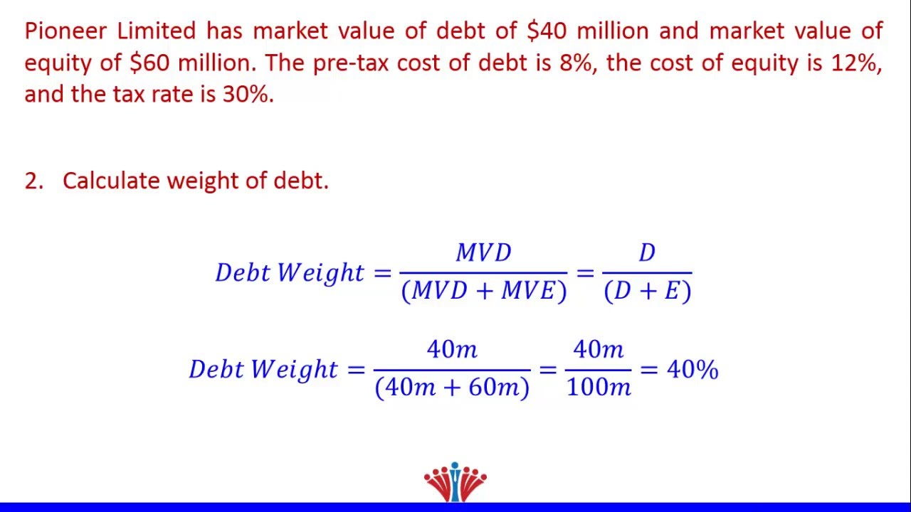 Wacc Example 1 Finding Weight Of Debt Youtube