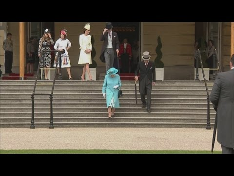 Kate and William join Queen and Duke for garden party