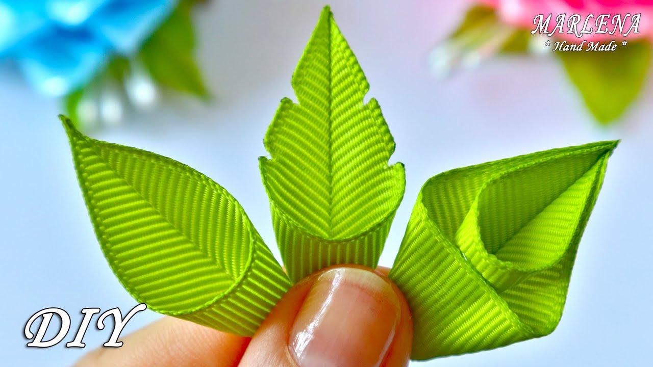 Зеленые листики🌿 из лент для цветочных 🌸 композиций. Мастер-класс для начинающих