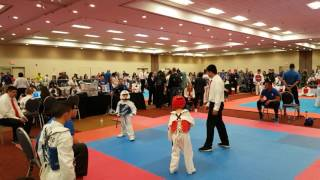 5 year old taekwondo kid vs 7 year old aau championship