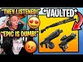 Streamers React to COMBAT SHOTGUN *VAULTED* & Drum Shotgun + Proximity Launcher REMOVED! (Fortnite)