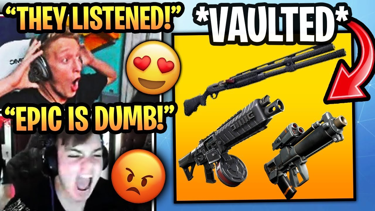 Streamers React to COMBAT SHOTGUN *VAULTED* & Drum Shotgun + Proximity Launcher REMOVED! (Fortnite) #1