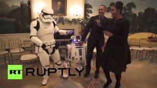 USA: Obamas dance with stormtroopers to celebrate 'Star Wars Day'