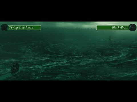 Flying Dutchman vs Black Pearl with health bars (Pirates of the Caribbean 3)