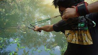 How To Make Powerful Slingshot Attach With String   String Slingshot VS Huge Fish