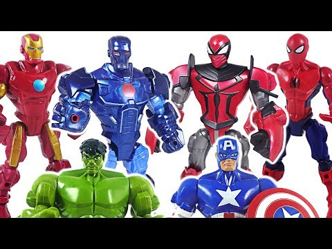 Marvel Mashers Avengers Spider Knight, Stealth Iron Man, Hulk! Defeat dinosaur! #DuDuPopTOY