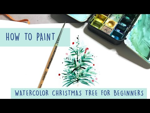Easy Watercolor Tutorial - Winter Christmas Tree - For Beginners