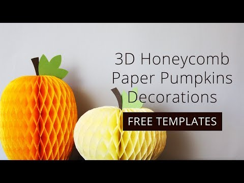 How to Make 3D Honeycomb Paper Pumpkins Decorations + FREE Template Download