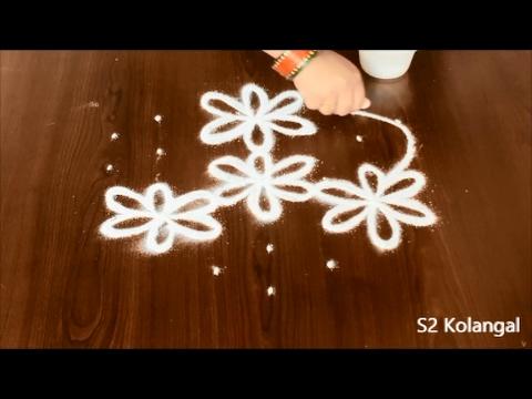flower muggulu with dots | poo kolam | 7 pulli kolam| flower rangoli designs