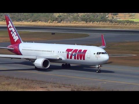 Boeing 767 300ER da TAM taxiando e decolando do Aeroporto Internacional de Belo Horizonte