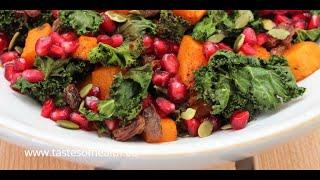 Kale Salad With Pomegranate - Kale In Salad Recipes - Raw Kale Salad Recipe - Best Kale Salad Ever
