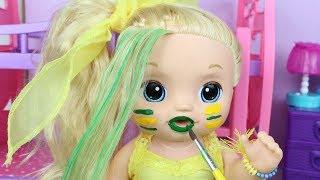 baby alive boneca elisa com batom verde vestida para torcer para o brasil na copa do mundo