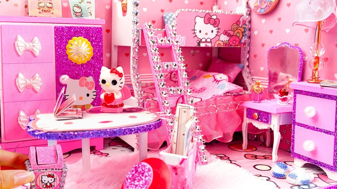 Diy miniature dollhouse bedroom hello kitty room decor - Decoration hello kitty chambre bebe ...