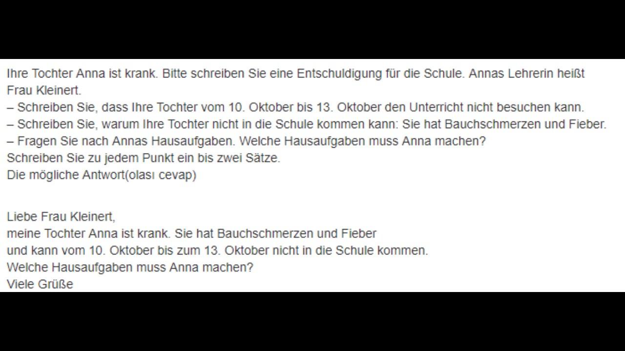 Deutsch Briefe Prüfüng A1 - Teil 2 - YouTube