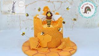Super niedliche Bienentorte / mit Honig-Quark-Füllung
