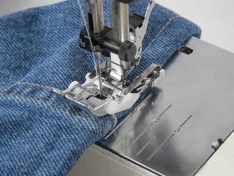 Hemming Jeans With The Magic Jeans Hemming Foot YouTube Enchanting Hemming Jeans Sewing Machine