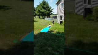 Casey's first time on a slip & slide!
