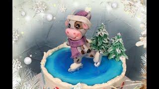 Новогодний торт 2021 БЫЧОК на коньках