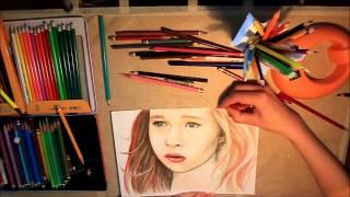 Портрет девочки. Рисунок цветными карандашами.