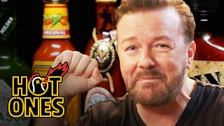Ricky Gervais Pits His Mild British Palate Against Spicy Wings   Hot Ones