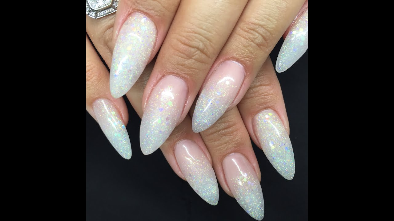 Ice Queen\' Acrylic Nail Tutorial | Glitter Baby Boomer Iridescent ...