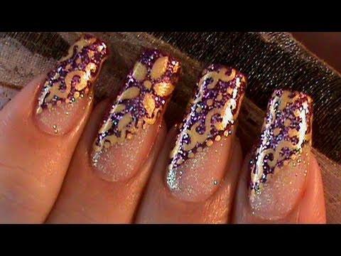 Golden Swirls Dots Flower Purple Glitter Nail Art Design Tutorial