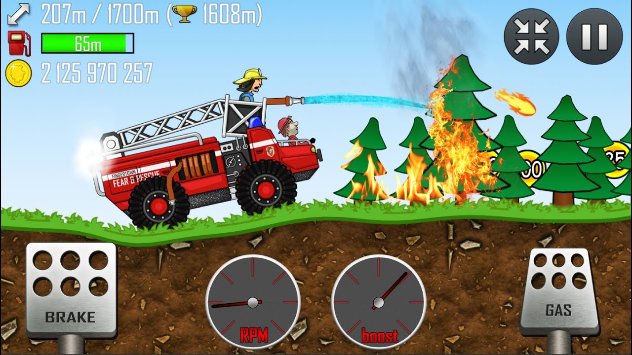 Hill Climb Racing - FIRE TRUCK in FOREST | GamePlay