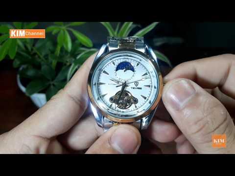 [REVIEW] Đồng Hồ Cơ Lộ Máy Tevise 795b Mặt Trắng Viền Vàng, Rất Sang Trọng