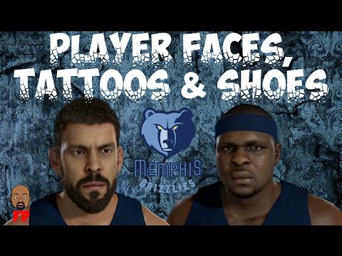 NBA 2K17 - Memphis Grizzlies - Player Faces, Tattoos and Shoes