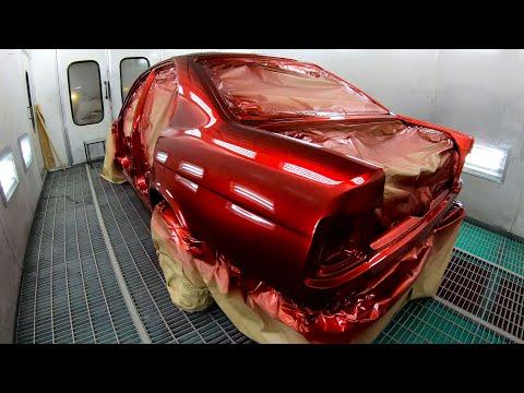 Candy. покраска в КЕНДИ BMW E34. Цвет Ultra Red подложка Brilliance