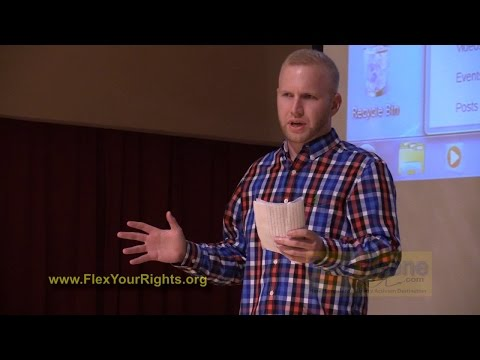 James Carroll of Flex Your Rights presents know-your-rights info at Keene State College